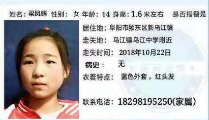 寻找安徽14岁女孩梁凤晴2018-10-22失联,蓝色外套红色头发。